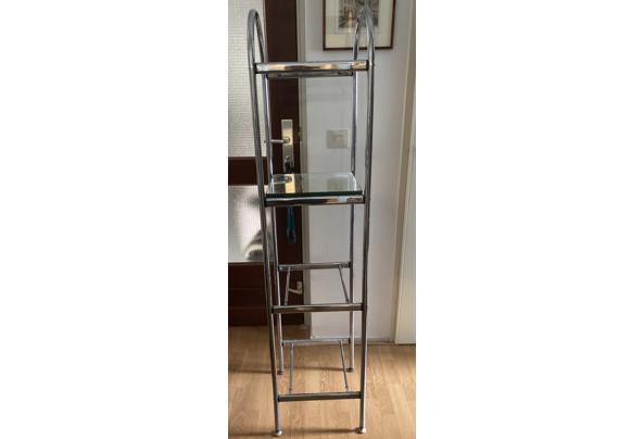 Design etagère van chroom en glas (spiegels) - 742A800A-7BC4-4E17-B781-351A77B91A2D