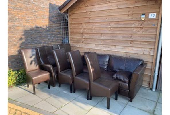 Leren bankstel + 2 fauteuils + 4 stoelen - IMG_5279
