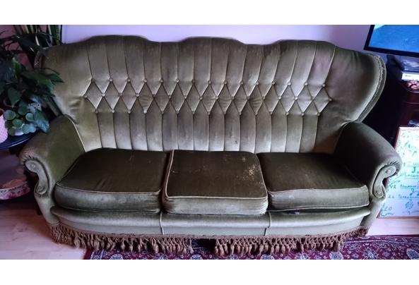 Vintage groene velours sofa bank - 16085606604517838982931841331148