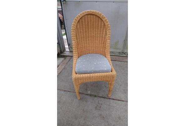6 rieten eetkamerstoelen met kussens - stoelen
