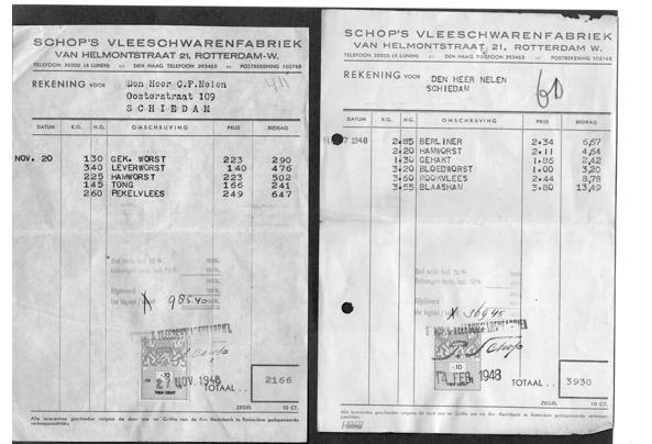 Facturen Schop's Vleeschwarenfabriek 1948 - brief-30122020014