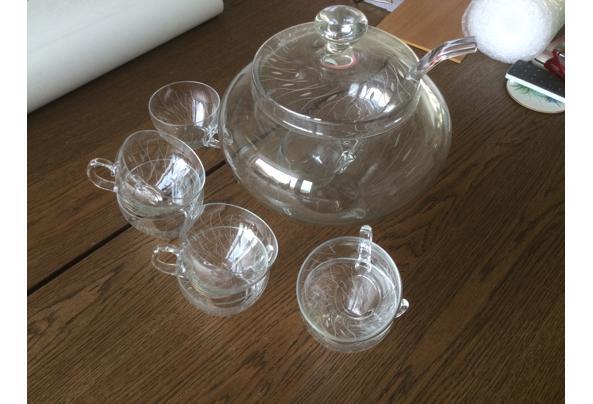 Glazen bowl kom met lepel en mokken....prima staat - 3C5FB4A9-4895-44D9-B585-256B2B4859AB.jpeg