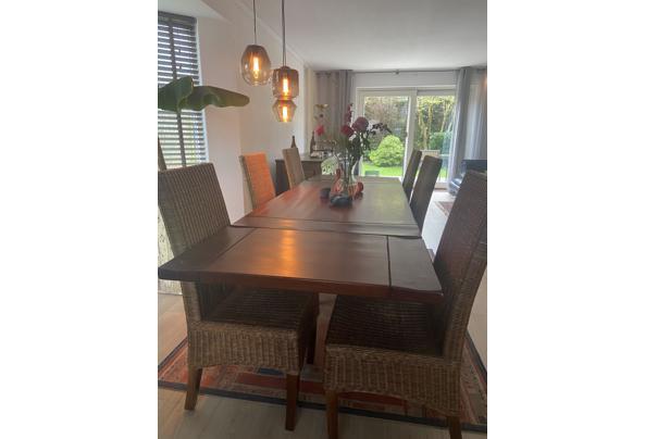 massief hardhouten verlengbare eettafel 6/8 personen + 6 stoelen - IMG_2716