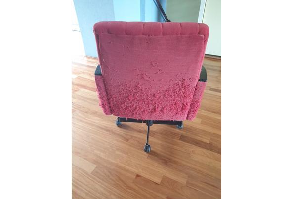 Vintage rode bureaustoel op wieltjes - Bureaustoel-05_637611802120437714