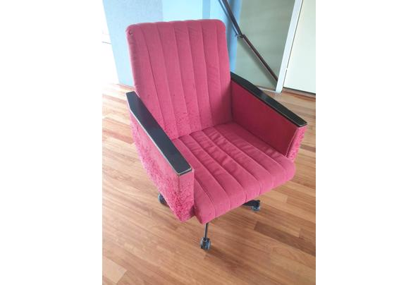 Vintage rode bureaustoel op wieltjes - Bureaustoel-02