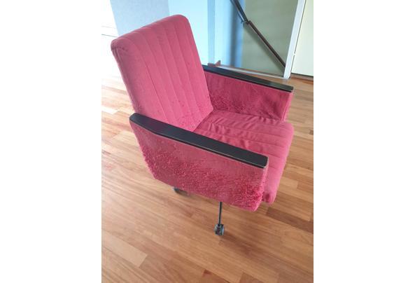 Vintage rode bureaustoel op wieltjes - Bureaustoel-03