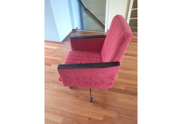 Vintage rode bureaustoel op wieltjes - Bureaustoel-04