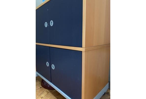 Ikea bureau kast blauw en hout - 5B22BE26-360D-4AAD-A6D4-7CAB45EFD169