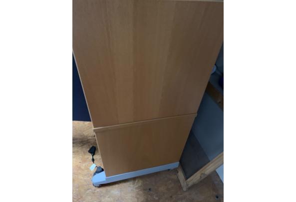 Ikea bureau kast blauw en hout - BCA16653-3045-452E-BDF0-4B3ED2212C69