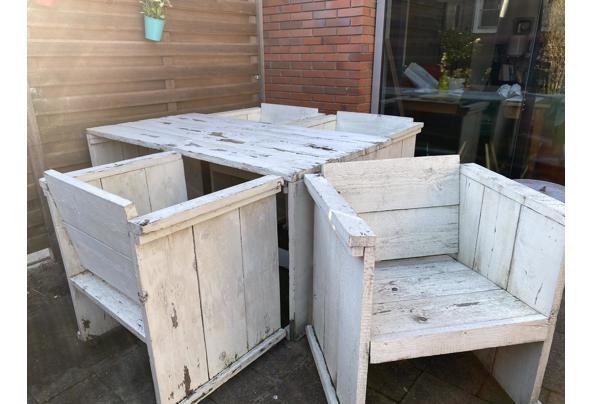 Tuintafel en stoelen van steigerhout. Opknapper - 654F703D-BEC7-4888-9C2F-52748CF603C0.jpeg