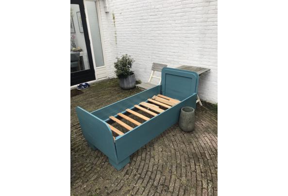 Landelijk houten junior bed, groen/blauw - IMG_3774