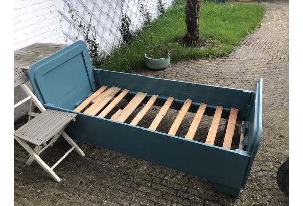Landelijk houten junior bed, groen/blauw - IMG_3777