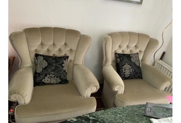 Driezitsbank eventueel met bijpassende 2 fauteuils . - image