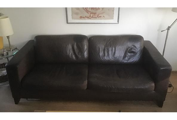 Donkerbruine lederen bank + 2 bijpassende fauteuils  - 57FE0F47-C783-4ED3-A733-5E1076775AB0.jpeg