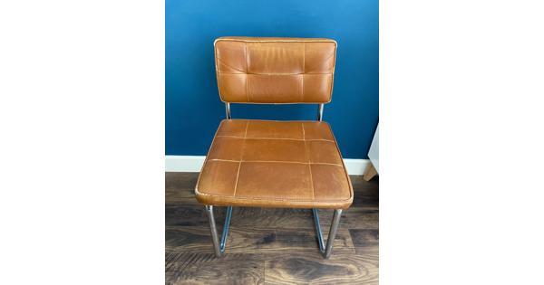 4 stoelen cognac met stalen onderstel
