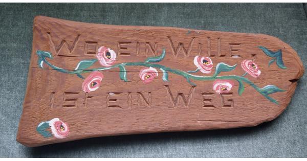 Handgemaakt Houten Bord met Duitse Spreuk