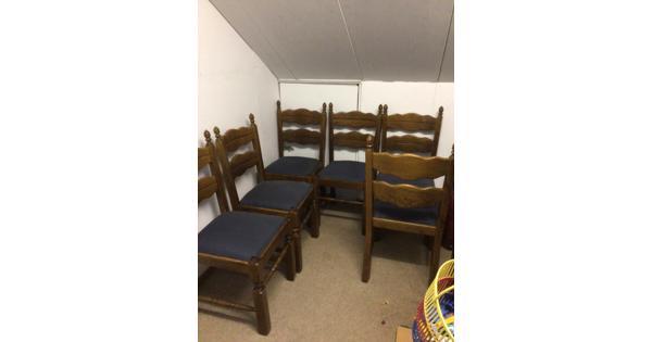 Eiken huiskamer stoelen 6 stuks