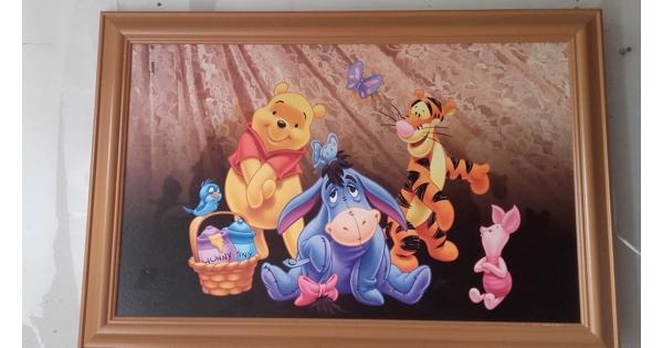 Winnie de Pooh foto op hout, incl. lijst