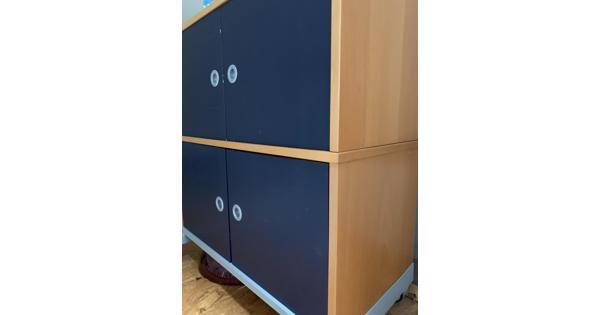 Ikea bureau kast blauw en hout