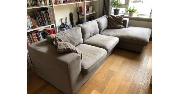 Driezits bank met lounge deel, 295x167cm