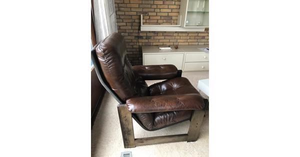 Leren fauteuils stoelen 2 stuks
