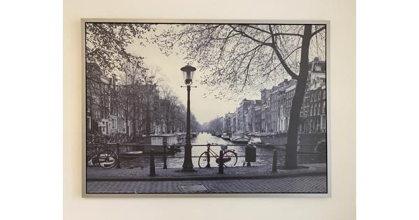 Ingelijste canvas foto rode fiets Amsterdam Ikea