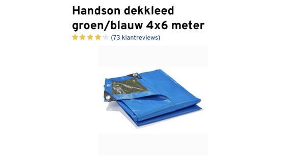 Dekzeil 4x6 meter blauw/groen