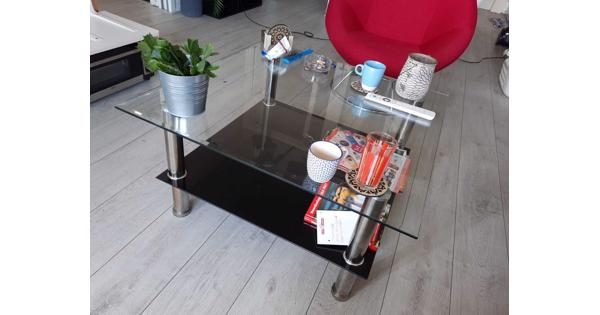 Vierkante glazen salontafel, 80x80cm
