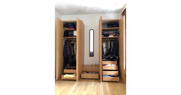 Solide houten kledingkast 3 delen