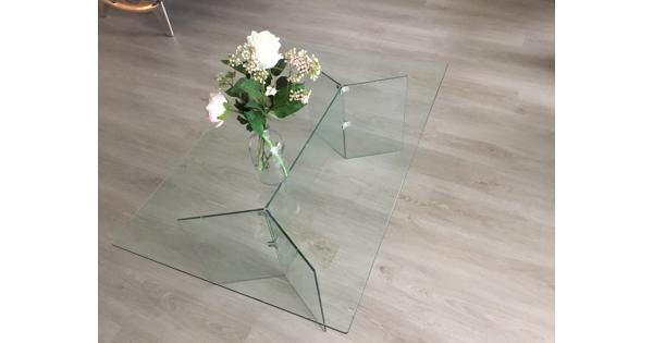 Hardglazen rechthoekige salontafel