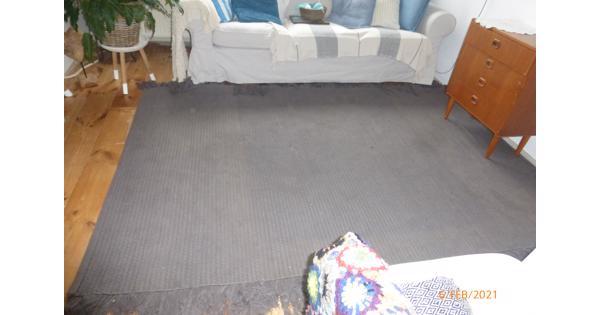 Groot grijs vloerkleed van katoen